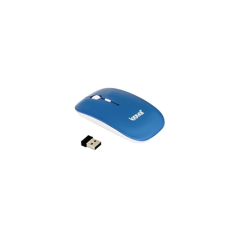 Imagen de iggual SLIM-2 Ratón óptico 1600dpi plano 2,4G Azul
