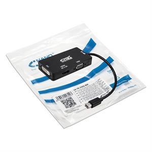 Imagen de Nanocable Conversor Mini DisplayPort a VGA / HDMI, 3 en 1, DP 1.2/M-VGA/H-HDMI/H 4K, Negro, 15 cm