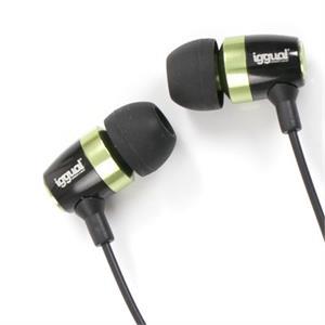 Imagen de iggual Auricular Intraauditivo Negro/Verde 3.5mm